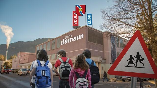 Il bajetg center Mundaun a Glion, en ina fotomontascha funcziunads enturn en ina scola.
