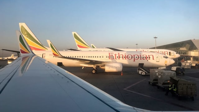 Boing 737 Max 8 mit der äthiopischen Airline in Addis Abbeba