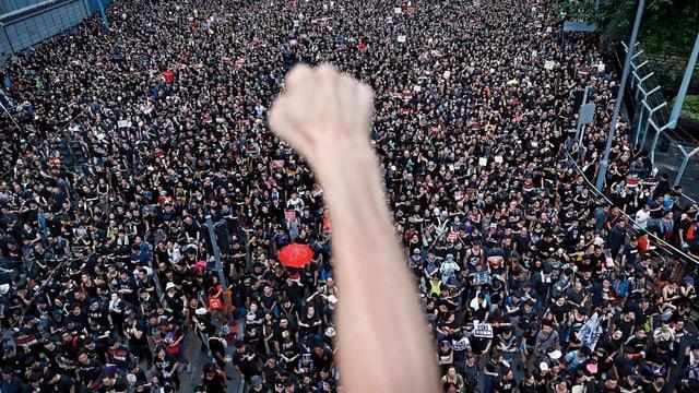 Massenhaft Protestierende. Im Vordergrund eine geballte Hand.