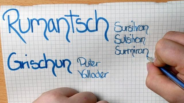 Ein Schüler schreibt auf ein Zettel die Standardsprache Rumantsch Grischun sowie die verschiedenen Idiome