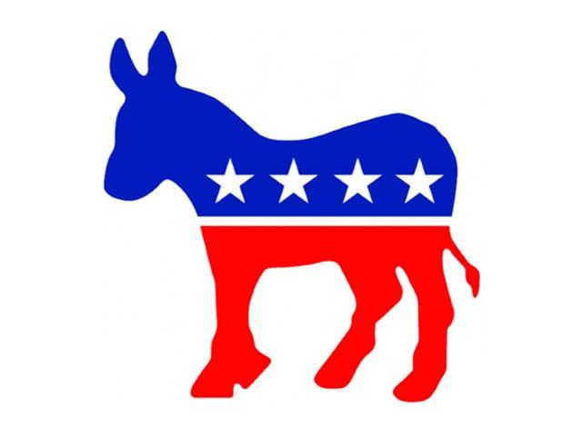Ein blau-roter Esel als Symbol der demokratischen Partei.