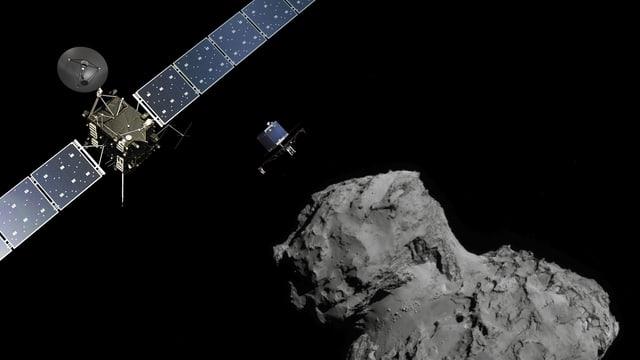 Grafik der Landung von Philae auf dem Kometen Churuyumov-Gerasimenko.