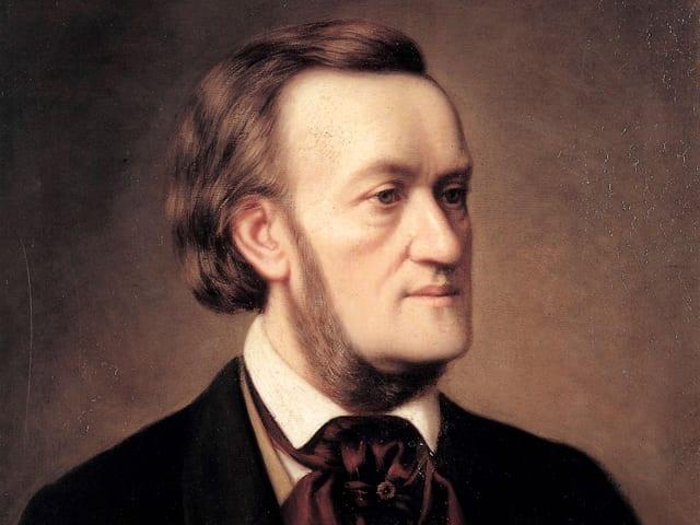 Porträt (halbnah) von Richard Wagner. Zum Hemd trägt er ein gebundenes seidenes Tuch.