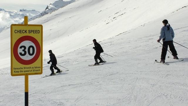 Geschwindigkeitschild auf Skipiste