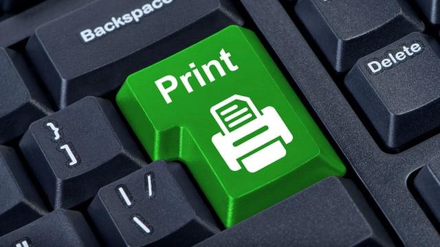 Tastatur mit grosser grüner Taste, beschriftet mit Print.