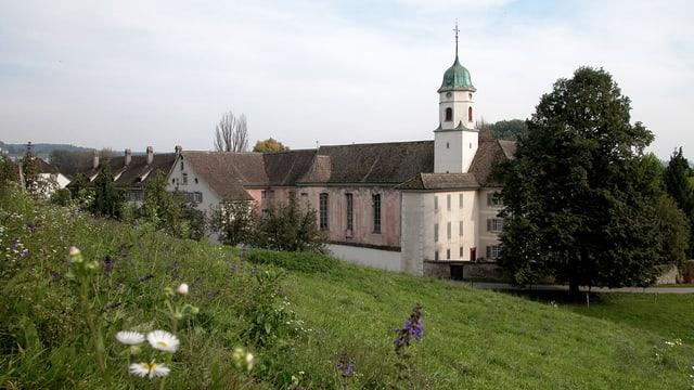 Kloster, Wiese im Vordergrund.