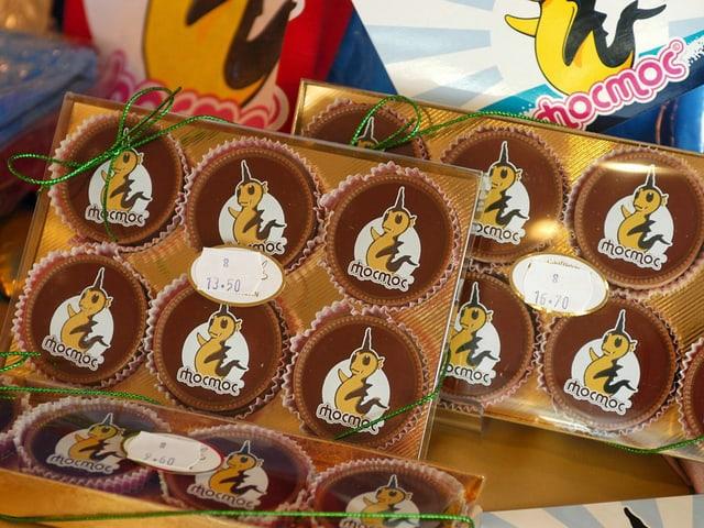 Schokolade mit MocMoc-Motiv.
