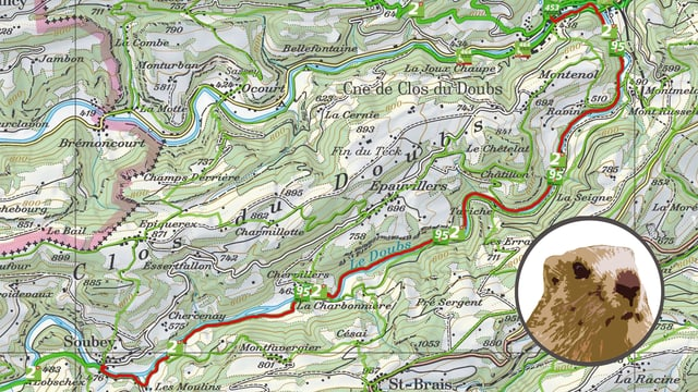 Kartenausschnitt Entlang dem Doubs