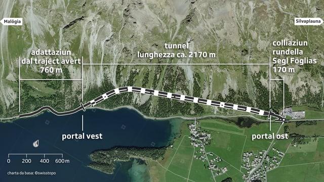 Carta da satellit cun inditgà tunnel.