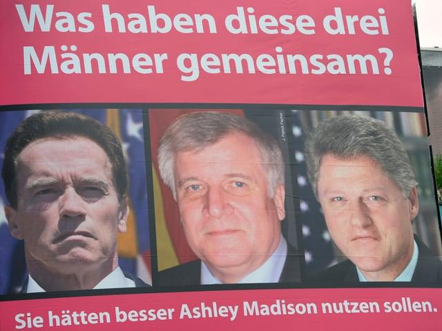 Drei prominente Fremdgeher auf einer Werbung von Ashley Madison.