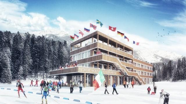 L'arena da biatlon a Lantsch è vegnida avera il 2013.