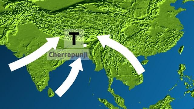 Karte mit Indien und Himalaya. Tiefdruckgebiet bei Himalaya mit weissen Pfeilen, die ins Tief zeigen.