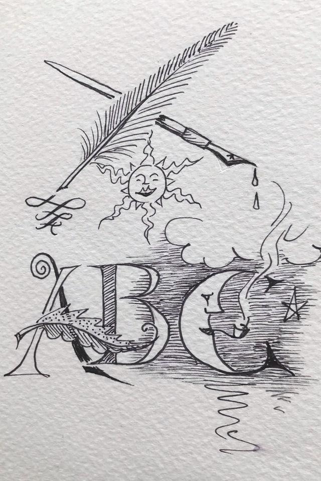 Exempel da calligrafia da Richard Bucher, il manader dals curs a Luven