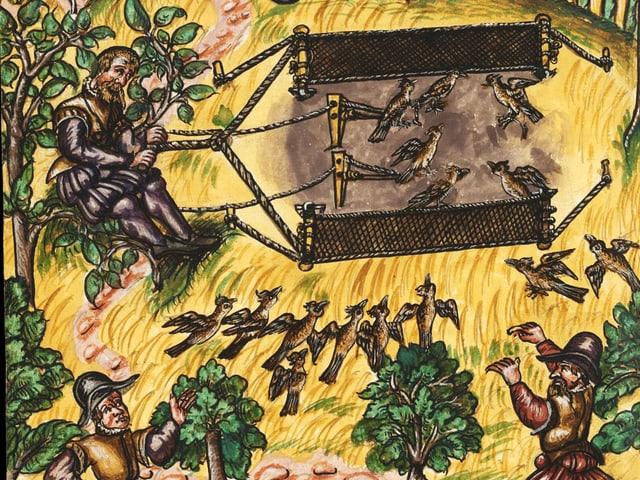 Bunte mittelalterliche Zeichnung der Jagdtechnik