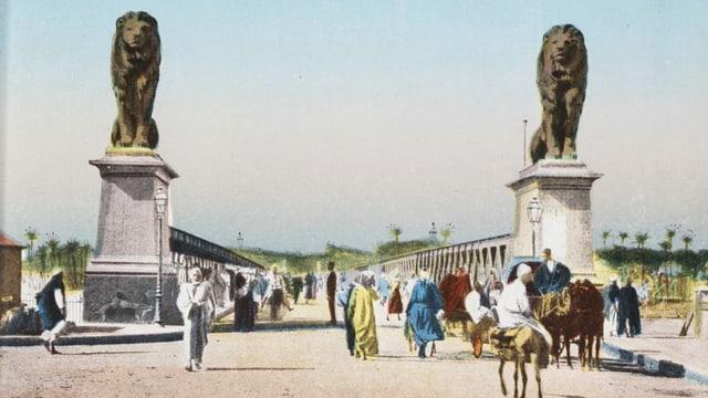 Kolorierte Postkarte von Kairo