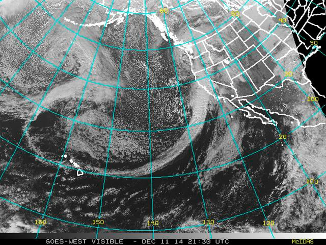 Satellitenfoto mit Umrissen der US-Westküste.