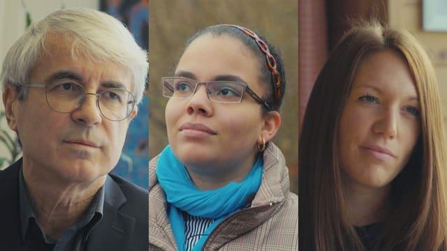 Auf dem Bild sind drei Menschen zu sehen: Max Elmiger, Direktor der Caritas Zürich, Amelia Ventura, Armutsbetroffene, Ramona Rossi, Patin von Amelias Tochter Ariadna (von links nach rechts).
