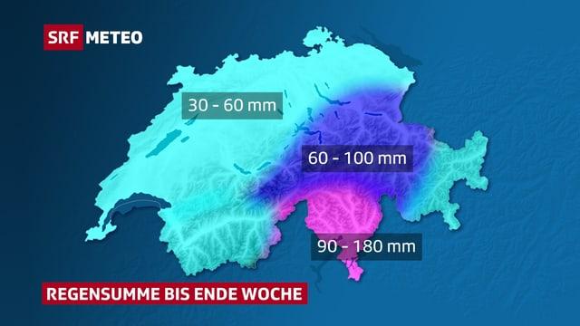 Auf einer Schweizer Karte sind die Regenmengen bis Ende Woche eingezeichnet. Mit 90 bis 180 mm Niederschlag steht dem Tessin eine grosse Menge Regenwasser bevor.