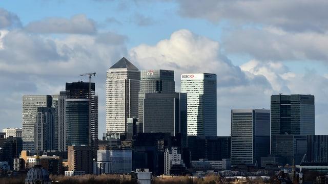 Aufnahme von Londons Skyline. Am Himmel sind Wolken erkennbar.