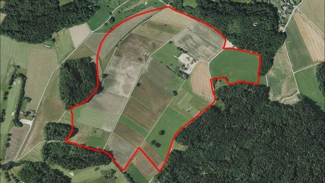 Luftbild des geplanten Standorts für eine Bodenaufwertung in Zumikon
