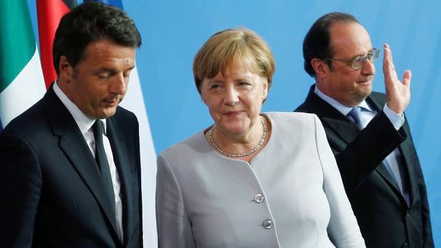 Renzi, Merkel und Hollande.