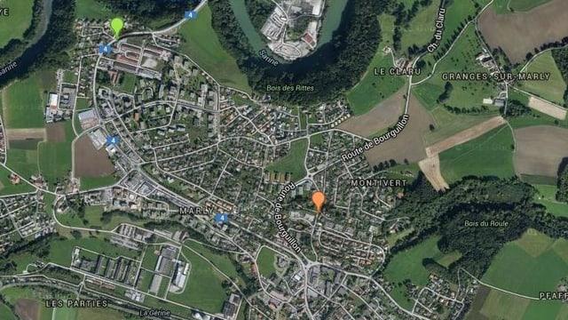 Ein Satellitenbild von Marly.