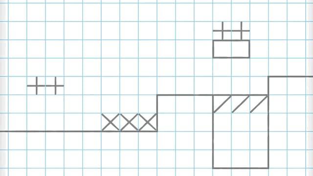 Eine animierte Comic-Hand zeichnet einen Game-Level auf kariertes Papier.
