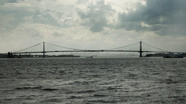 Auf dem Bild ist eine sehr lange Brücke von Othmar Ammann zu sehen.