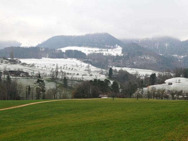 Ein Berg im Baselbiet ist schneebedeckt, etwas tiefer sind die Wiesen noch grün - die Schneegrenze ist deutlich zu erkennen.eutlich