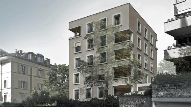 Visualisierung eines geplanten Wohnhauses in der Stadt Luzern.