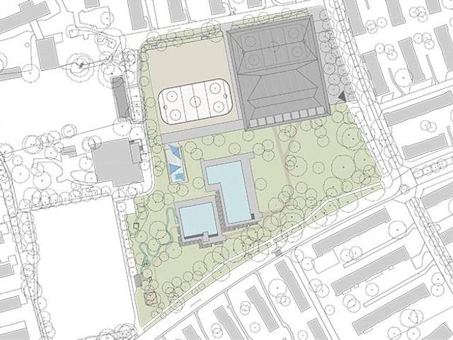 Lageplan der neuen Sportanlagen mit neuer gedeckter Eishalle im Norden und den zwei Schwimmbecken im südlichen Teil des Areals.