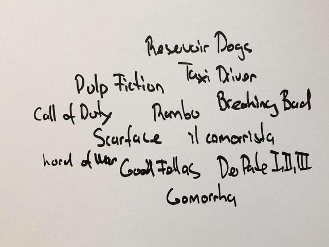 Skizze mit einer Auflistung aller Filme, die Roberto Saviano in seinem Buch erwähnt