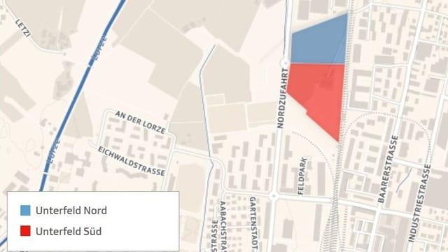Eine Karte, die das Gebiet Unterfeld in Zug und Baar zeigt.