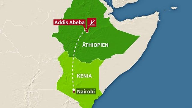 Karte Äthioppien und Kenia