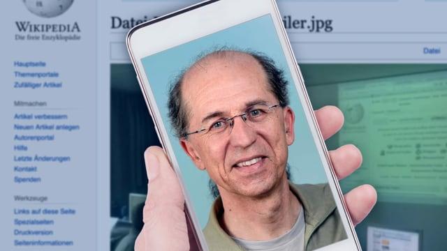 Porträt eines älteren Mannes auf einem Smartphone-Bildschirm.