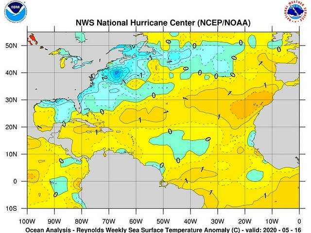 Wasseroberflächentemperaturen Zentralatlantik und Karibik.