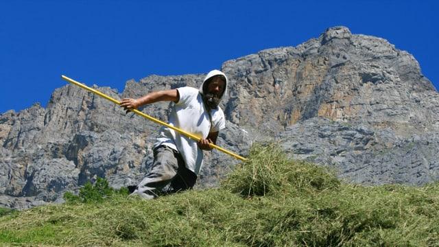 Bauer mit Heugabel an einem Hang, dahinter strahlend blauer Himmel.