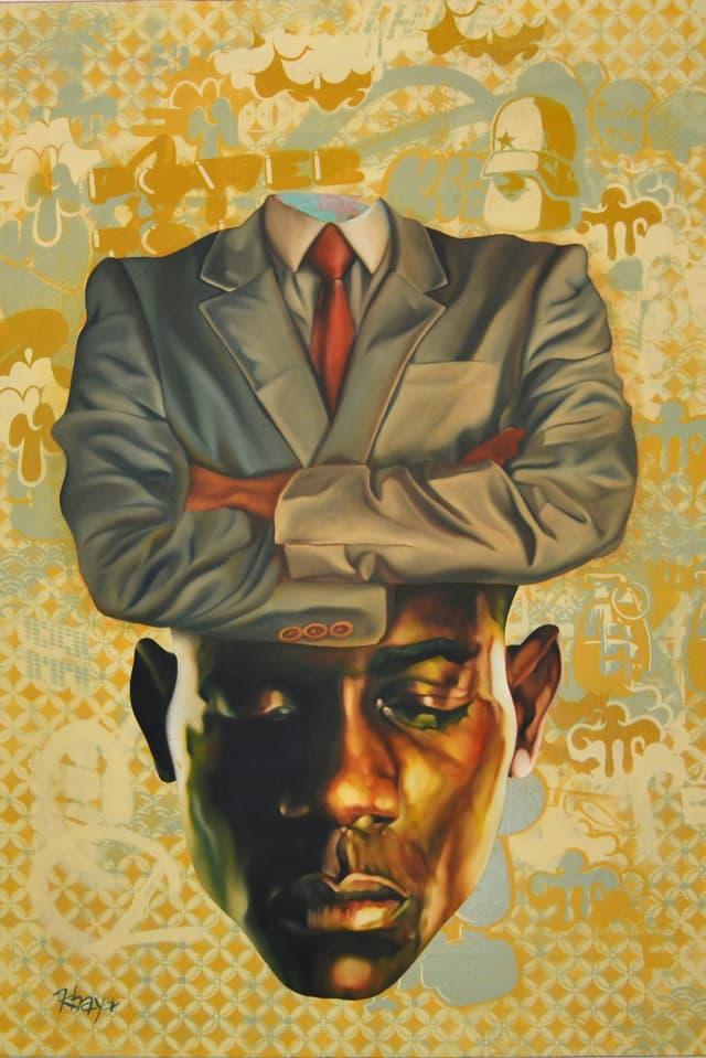 Auf einem gemalten Bild ist ein kopfloser Oberkörper in Anzug zu sehen, darunter schliesst sich nahtlos ein Kopf eines afrikanischen Mannes an, der die Augen geschlossen hat.