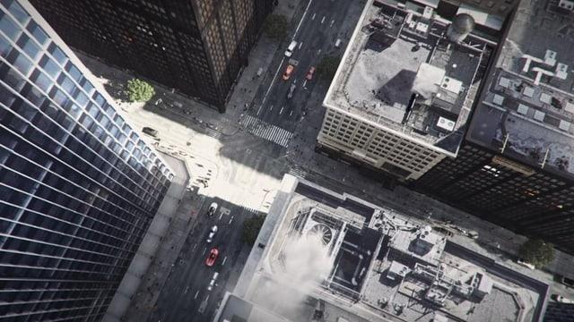 Blick aus der Vogelperspektive auf eine Strasse zwischen Höchhäusern.