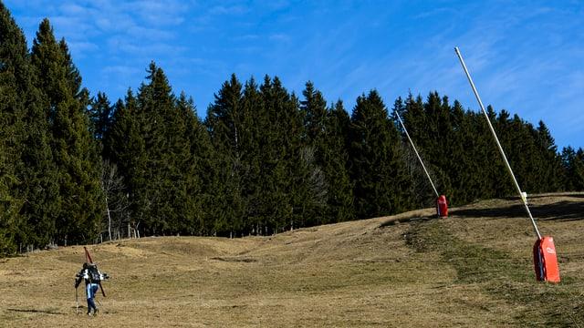 Skifahrer geht über die grüne Wiese.