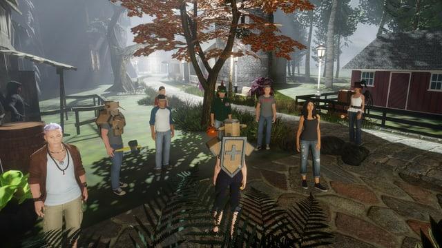 Eine Gruppe männlicher und weiblicher Avatare in einer virtuellen Spielumgebung.