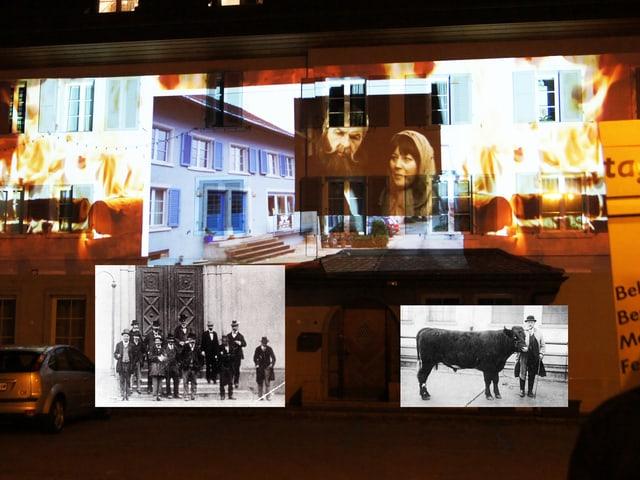 Verschiedene Bilder an einer Hauswand.