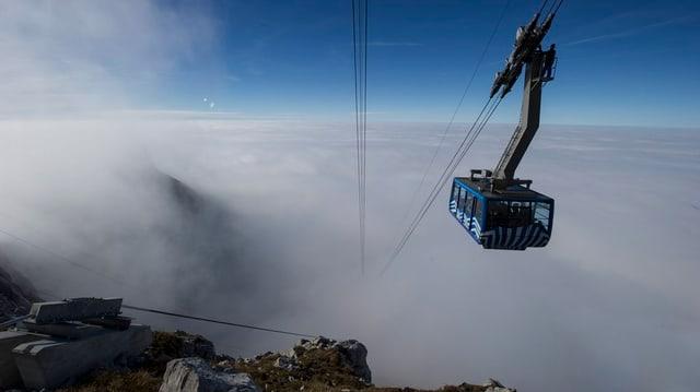 Die Säntisbahn über dem Nebelmeer