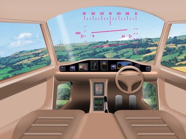 Computersimulation eines Cockpits.