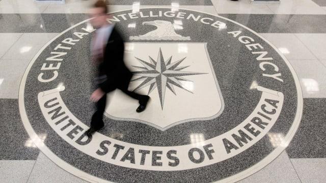 Das Wappen der CIA auf dem Boden