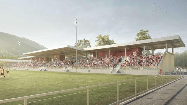 Visualisaziun dal nov stadion da ballape.