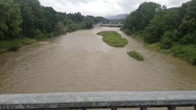 Ansicht der Aare von einer Brücke beim Kraftwerk Rupperswil.