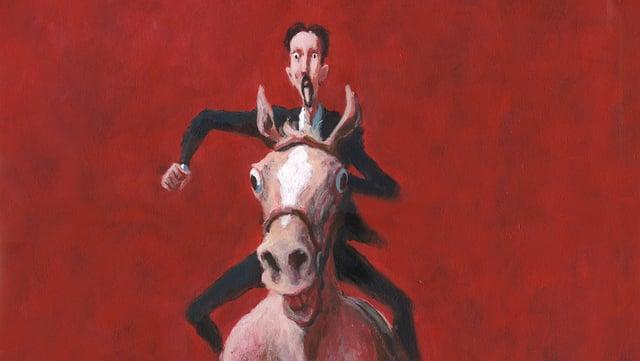 Comic: Ein Mann auf einem gallopierenden Pferd vor rotem Hintergrund.