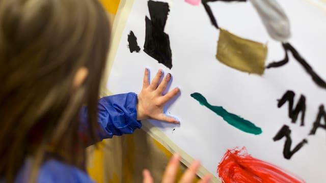 Kind drückt Hand mit Farbe auf ein Blatt Papier