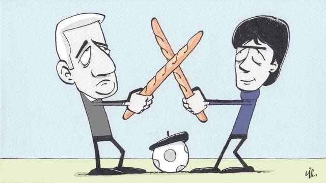 Zeichunung von Vladimir Petkovic und Jogi Löw, die Baguettes kreuzen.